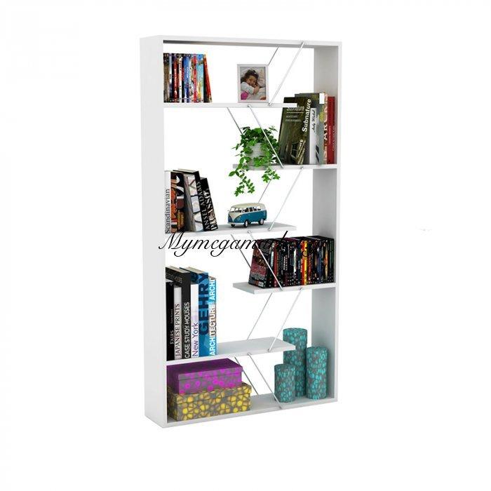 Βιβλιοθήκη TARS σε χρώμα λευκό με λεπτομέρειες χρωμίου 84x24x157εκ | Mymegamarket.gr