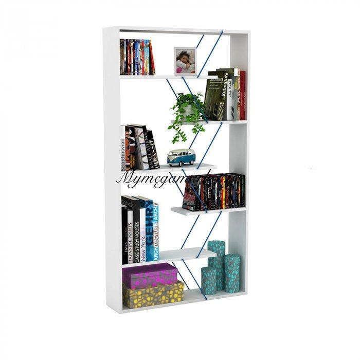 Βιβλιοθήκη TARS σε χρώμα λευκό με μπλε λεπτομέρειες 84x24x157εκ | Mymegamarket.gr
