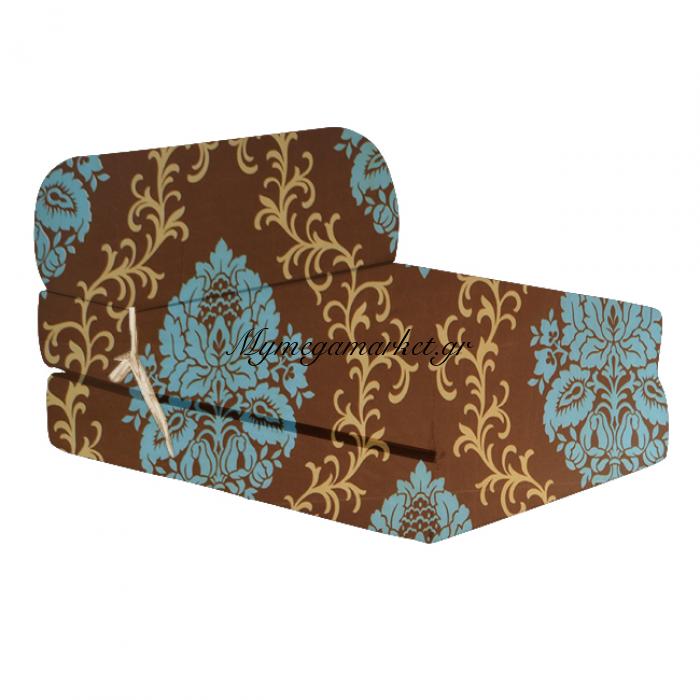 Πολυθρόνα - Κρεβάτι Flip Chair καφέ με γαλάζιο σχέδιο Florina | Mymegamarket.gr