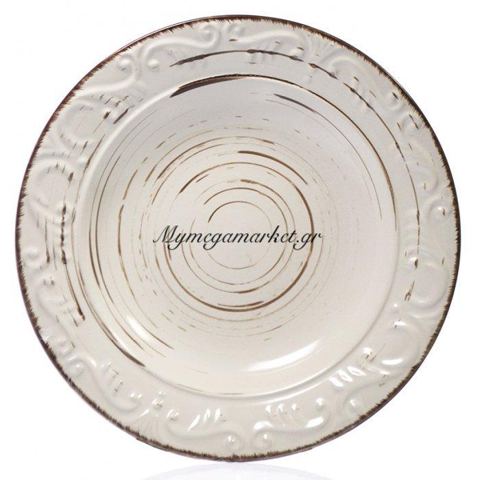 Πιάτο βαθύ stoneware μπέζ-καφέ Nava | Mymegamarket.gr