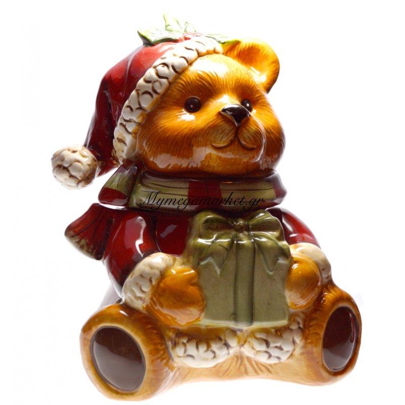 Μπισκοτιέρα χριστουγεννιάτικη αρκουδάκι απο πορσελάνη