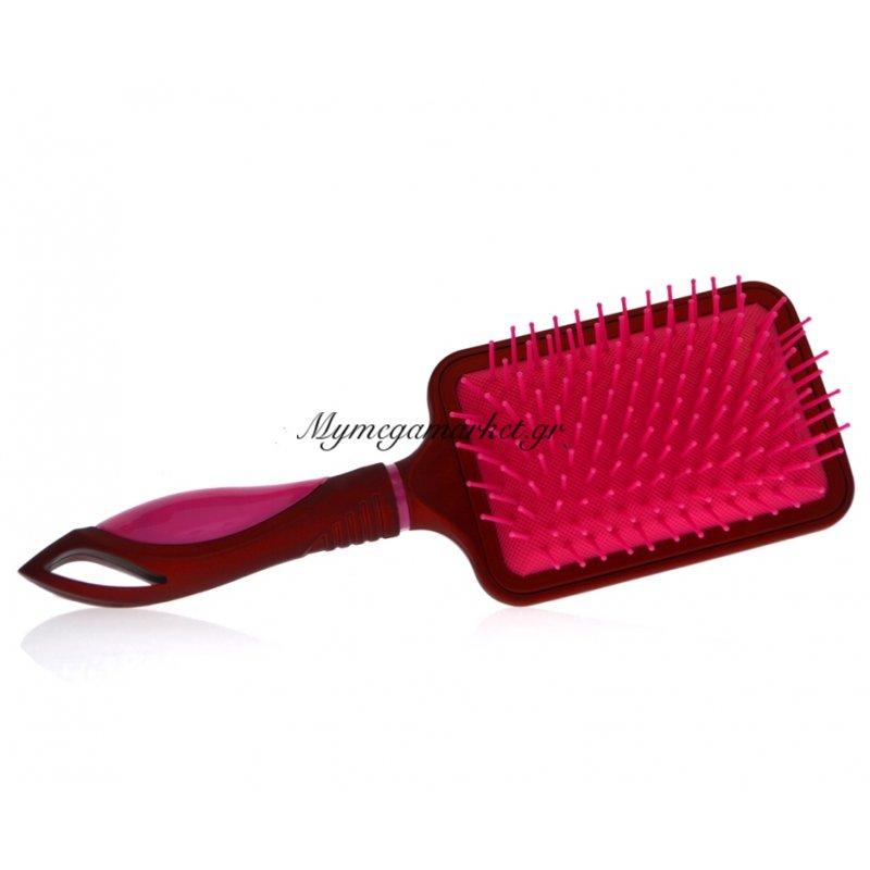 Βούρτσα μαλλιών τετράγωνη με πλαστική τρίχα - Μπορντώ - Φούξια