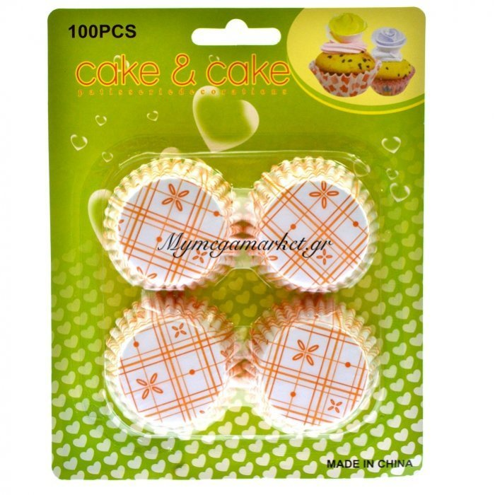 Φορμάκια χάρτινα σέτ 100τεμ. σχέδιο με καρώ πορτοκαλί 7 cm | Mymegamarket.gr