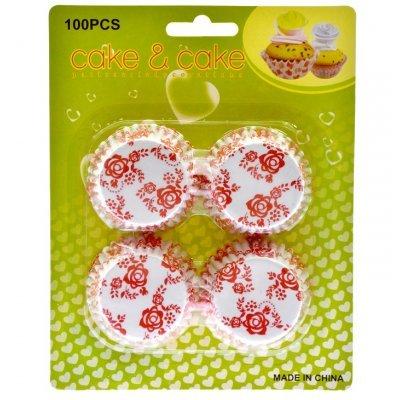 Φορμάκια χάρτινα σέτ 100τεμ. σχέδιο με λουλούδια κόκκινα 7 cm