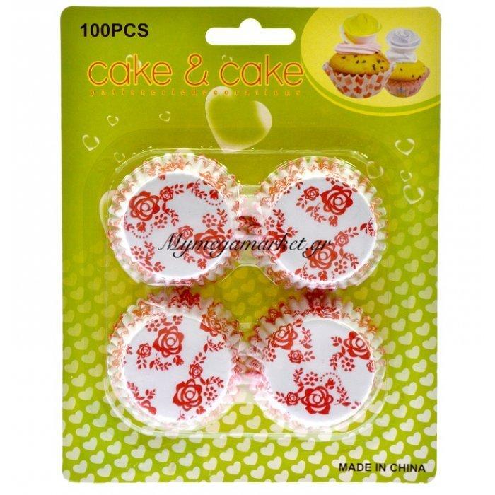 Φορμάκια χάρτινα σέτ 100τεμ. σχέδιο με λουλούδια κόκκινα 7 cm | Mymegamarket.gr
