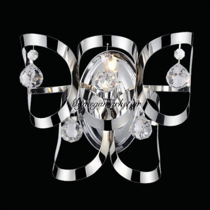 Απλίκα μονόφωτη χρώμιο με κρυσταλλάκια - Nava