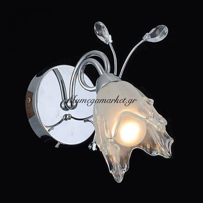 Απλίκα μονόφωτη γυαλί/χρώμιο - Nava | Mymegamarket.gr