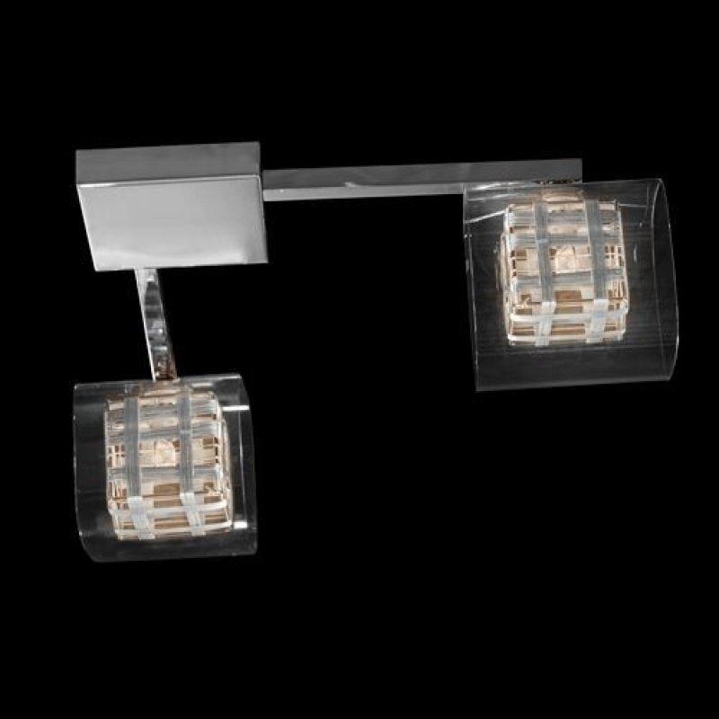 Φωτιστικό οροφής δίφωτο τετράγωνο γυαλί - χρώμιο - Nava
