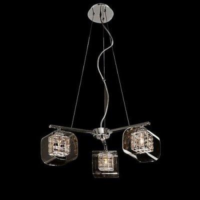 Φωτιστικό οροφής τρίφωτο με τετράγωνο γυαλί - χρώμιο - Nava