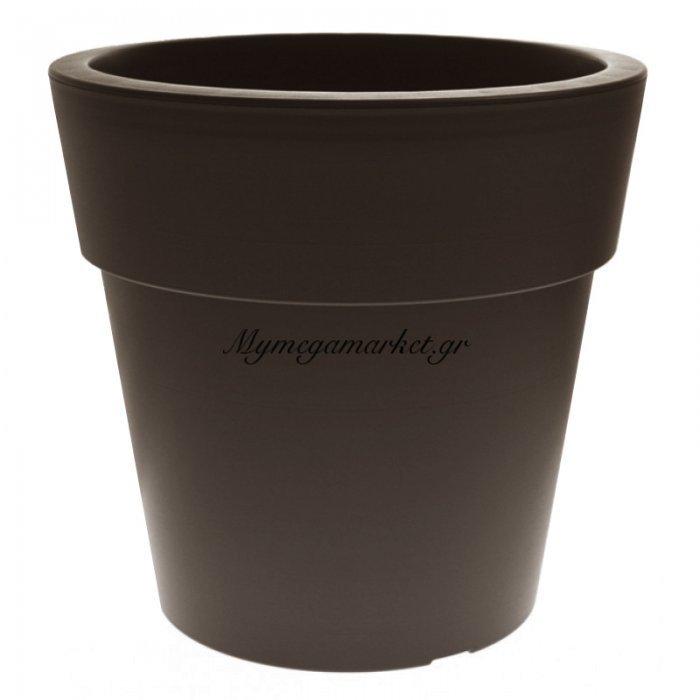 Γλάστρα Linea στρογγυλή χρώμα καφέ-μπρονζέ 2 λίτρων | Mymegamarket.gr
