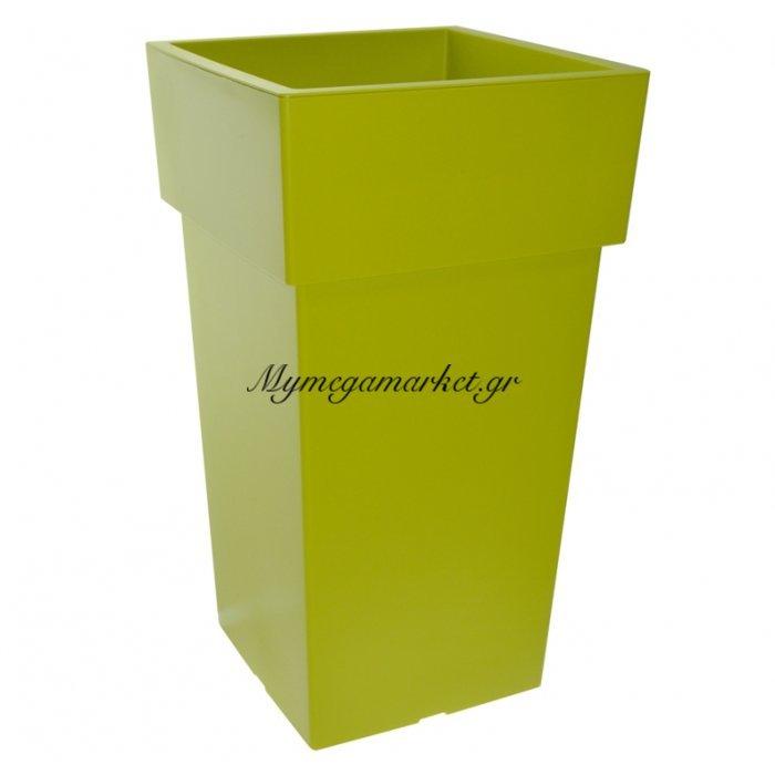 Γλάστρα τετράγωνη Linea ψηλή χρώμα λαχανί 3 λίτρων | Mymegamarket.gr