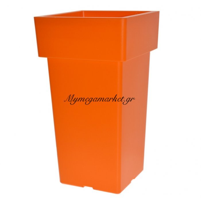 Γλάστρα τετράγωνη Linea ψηλή χρώμα πορτοκαλί 3 λίτρων | Mymegamarket.gr