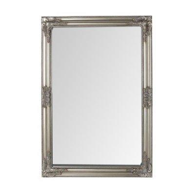 Ορθογώνιος ασημί ξύλινος καθρέπτης τοίχου - Nava