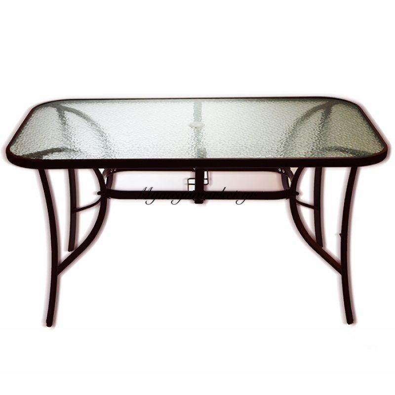 Τραπέζι κήπου μεταλλικό bronje με τζάμι ασφαλείας 140 x 80 cm TAB-14080BR - EPAM