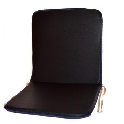 Μαξιλάρι καρέκλας μαύρο με πλάτη - ρέλι μπλέ σκούρο