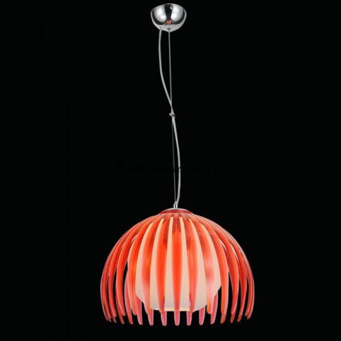 Φωτιστικό οροφής μονόφωτο με κόκκινο plexiglass και γυαλί Nava