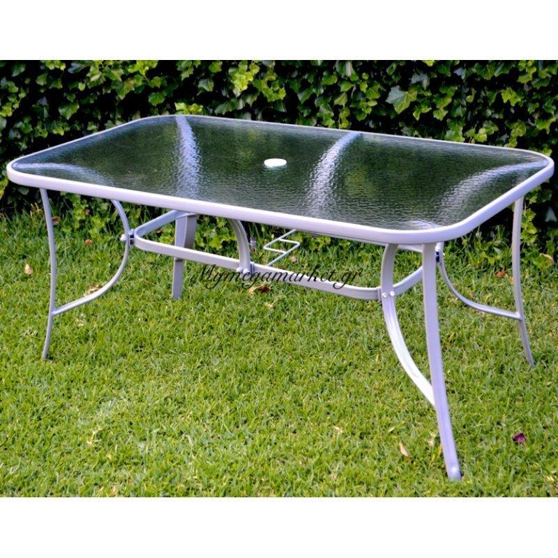 Τραπέζι κήπου μεταλλικό με τζάμι ασφαλείας 150 x 90 cm TAB-15090BR - EPAM