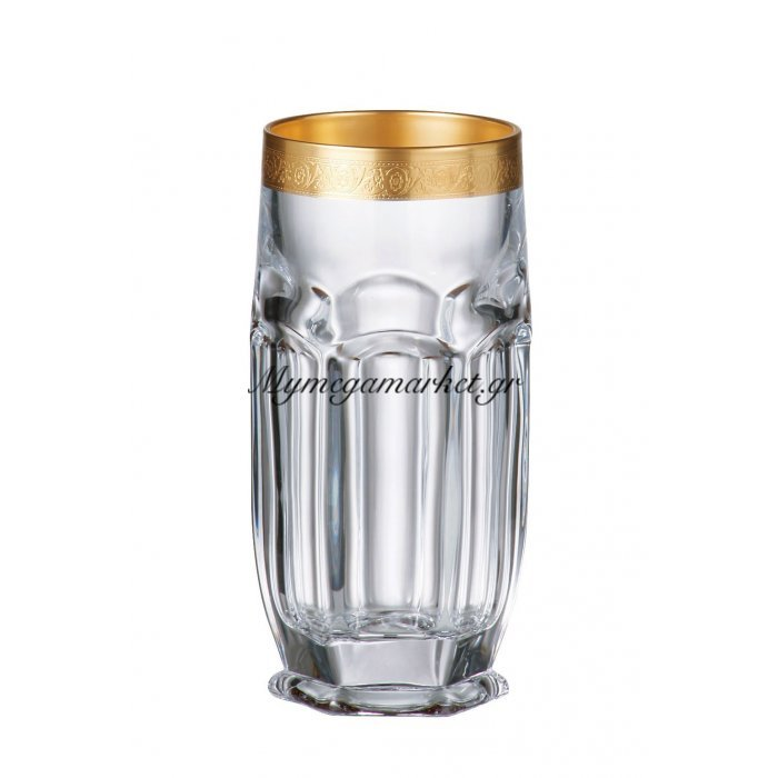 Ποτήρι νερού σωλήνα κρυστάλλινο Bohemia 300ml Safari-Gold | Mymegamarket.gr