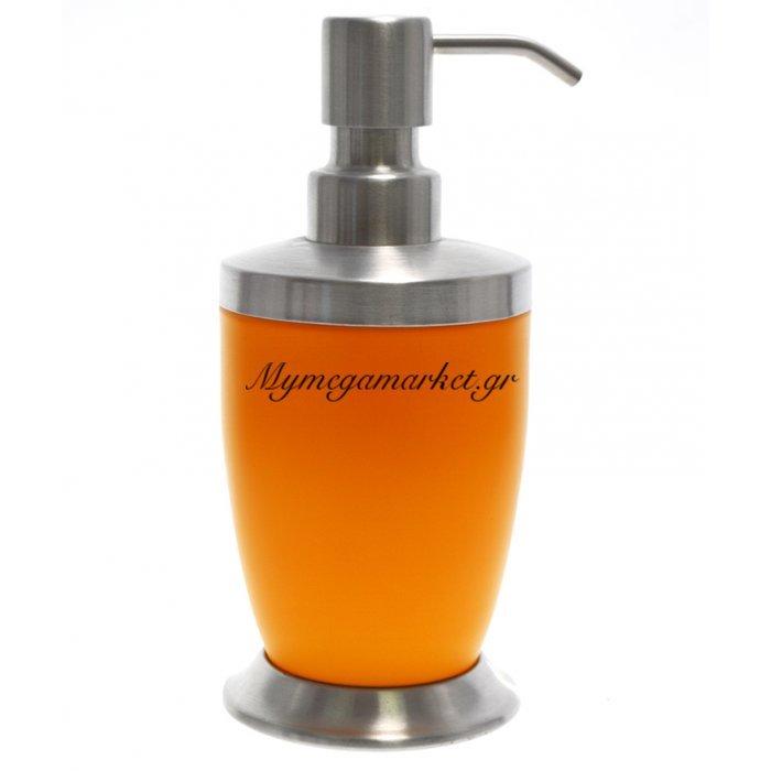 Αντλία κρεμοσάπουνου με πορτοκαλί χρώμα & inox λεπτομέρειες | Mymegamarket.gr