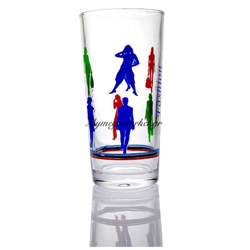 Ποτήρι σωλήνα γύαλινο σχέδιο Fashion 300ml