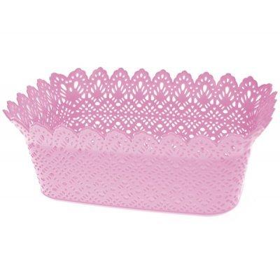 Ψωμιέρα πλαστική σχέδιο δαντέλα σε ρόζ χρώμα