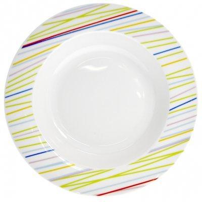 Πιάτο σούπας πορσελάνης με χρωματιστές γραμμές