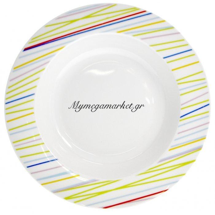 Πιάτο σούπας πορσελάνης με χρωματιστές γραμμές | Mymegamarket.gr