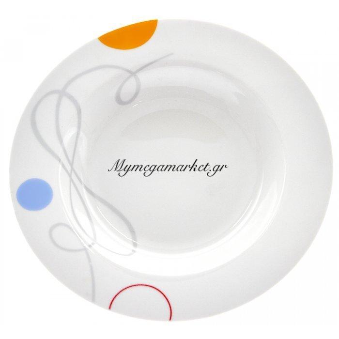 Πιάτο σούπας πορσελάνης με σχέδιο γραμμές και κύκλους | Mymegamarket.gr