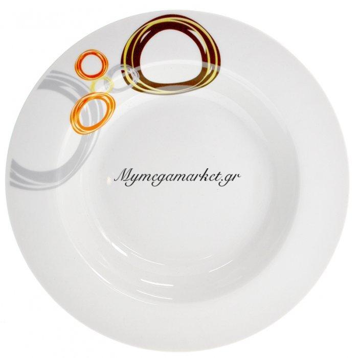 Πιάτο σούπας πορσελάνης με σχέδιο κρίκους | Mymegamarket.gr