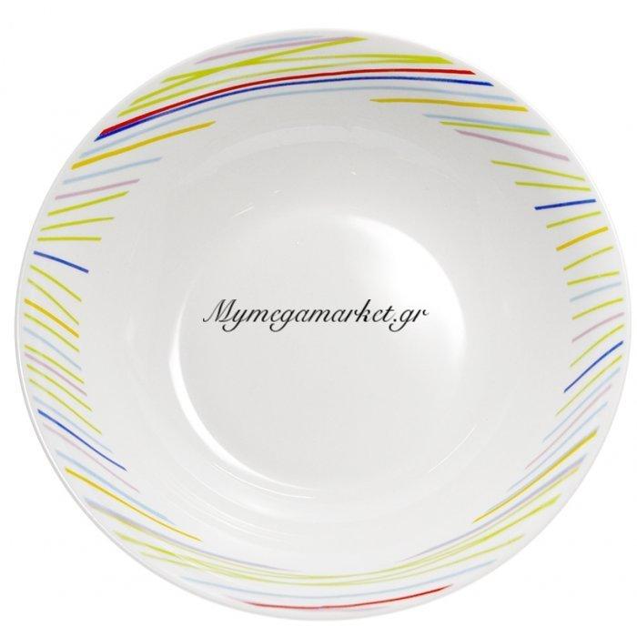 Σαλατιέρα πορσελάνης με χρωματιστές γραμμές | Mymegamarket.gr