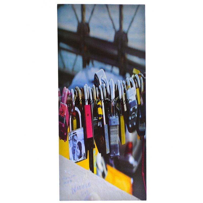 Πίνακας ξύλινος με θέμα padlocks 25 x 52 cm