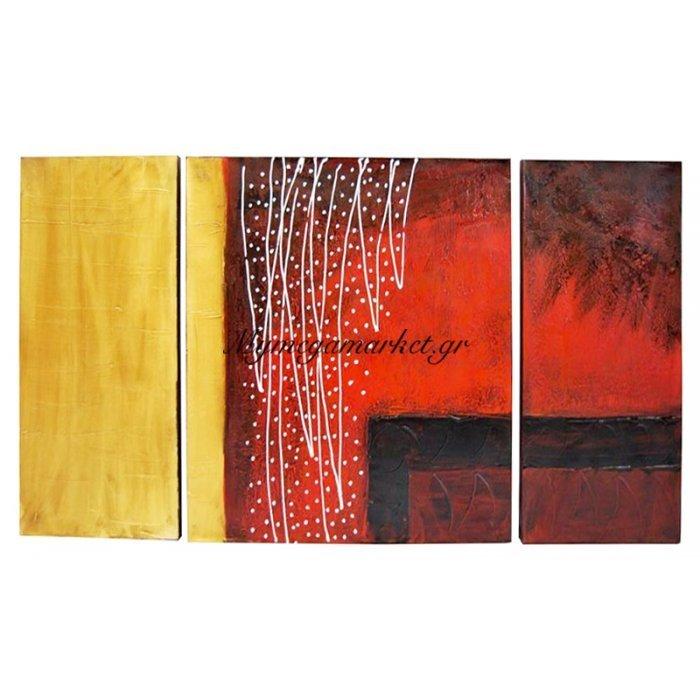 Πίνακας καμβάς με λαδομπογιά σετ 3 τεμ σχέδιο χρυσό - μπορντώ 120 x 60 cm
