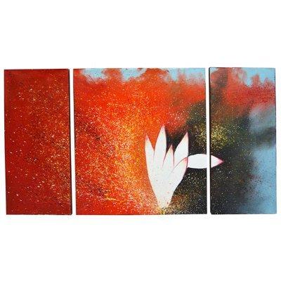 Πίνακας καμβάς με λαδομπογιά σετ 3 τεμ σχέδιο πιτσιλιές & λουλούδι 120 x 60 cm