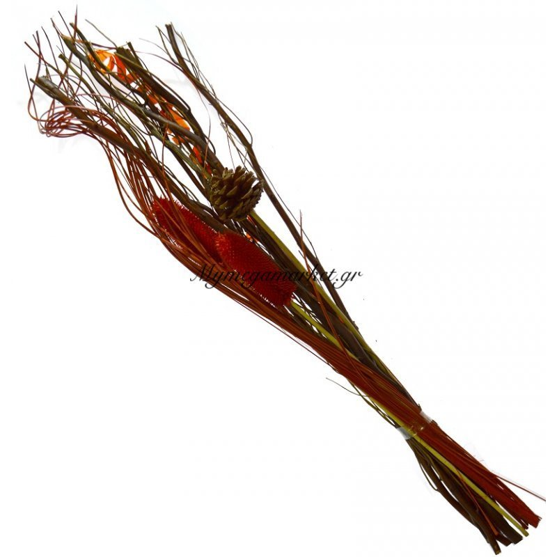 Σύνθεση αποξηραμένων λουλουδιών πορτοκαλί 2LG33-3