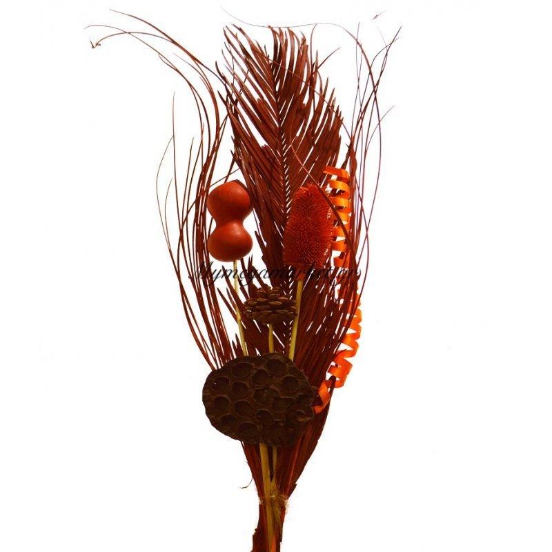Σύνθεση αποξηραμένων λουλουδιών πορτοκαλί 2LG33-4