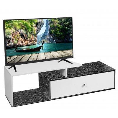 Έπιπλο τηλεόρασης Mdf σε μαύρο γραμμικό / Λευκό χρώμα με συρτάρι MDF-18/JL-8004-3+WHT 120 x 35 x 35εκ. | Mymegamarket.gr