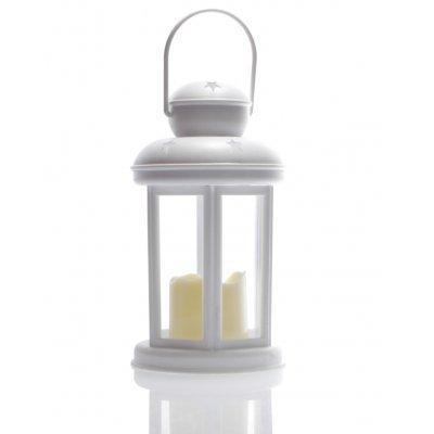 Φανάρι στρογγυλό - Λευκό με κερί μπαταρίας