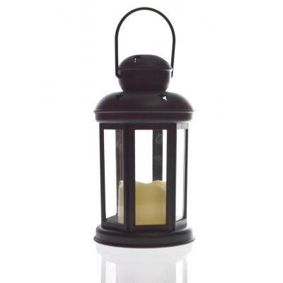 Φανάρι στρογγυλό - Μάυρο με κερί μπαταρίας