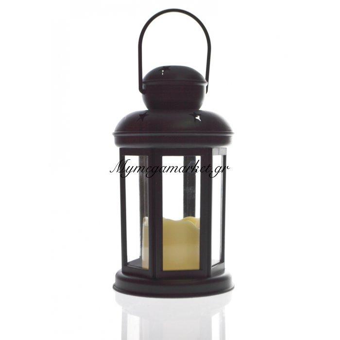 Φανάρι στρογγυλό - Μάυρο με κερί μπαταρίας | Mymegamarket.gr