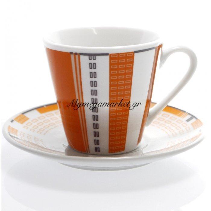 Φλυτζάνια του καφέ σέτ 6 τμχ - Σχέδιο με γραμμές πορτοκαλί | Mymegamarket.gr