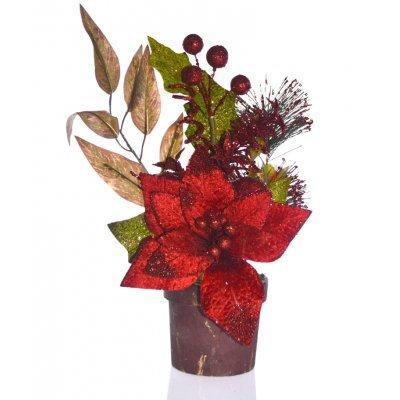 Γλάστρα στρογγυλή με Αλεξανδρινό λουλούδι κόκκινο