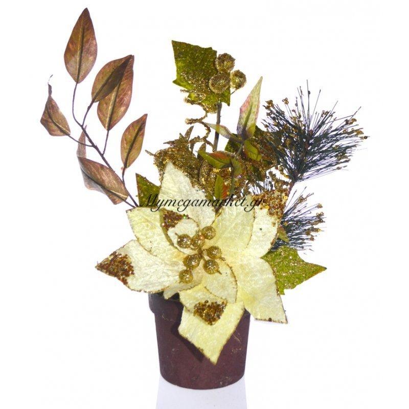 Γλάστρα στρογγυλή με Αλεξανδρινό λουλούδι μπέζ