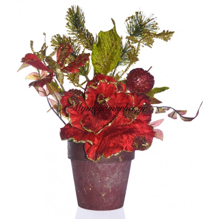 Γλάστρα στρογγυλή με τριαντάφυλλο λουλούδι κόκκινο