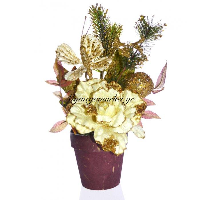 Γλάστρα στρογγυλή με τριαντάφυλλο λουλούδι μπέζ | Mymegamarket.gr