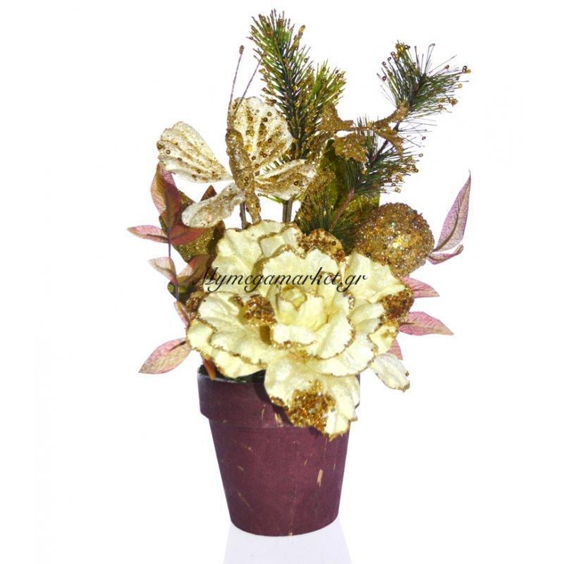 Γλάστρα στρογγυλή με τριαντάφυλλο λουλούδι μπέζ Στην κατηγορία Λουλούδια Χριστουγεννιάτικα | Mymegamarket.gr