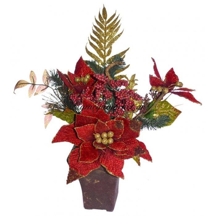 Γλάστρα τετράγωνη με Αλεξανδρινό λουλούδι κόκκινο