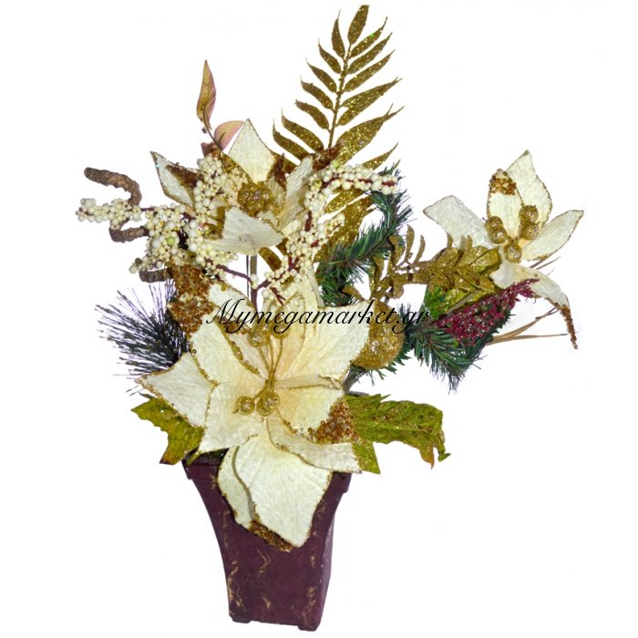 Γλάστρα τετράγωνη με Αλεξανδρινό λουλούδι μπέζ | Mymegamarket.gr