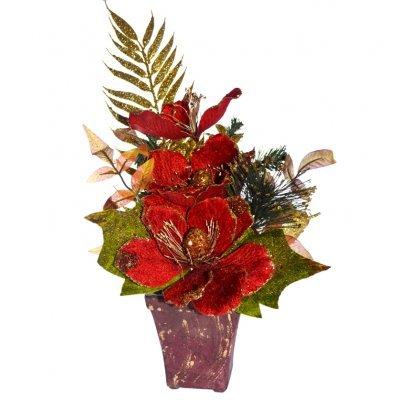 Γλάστρα τετράγωνη με παπαρούνα λουλούδι κόκκινη