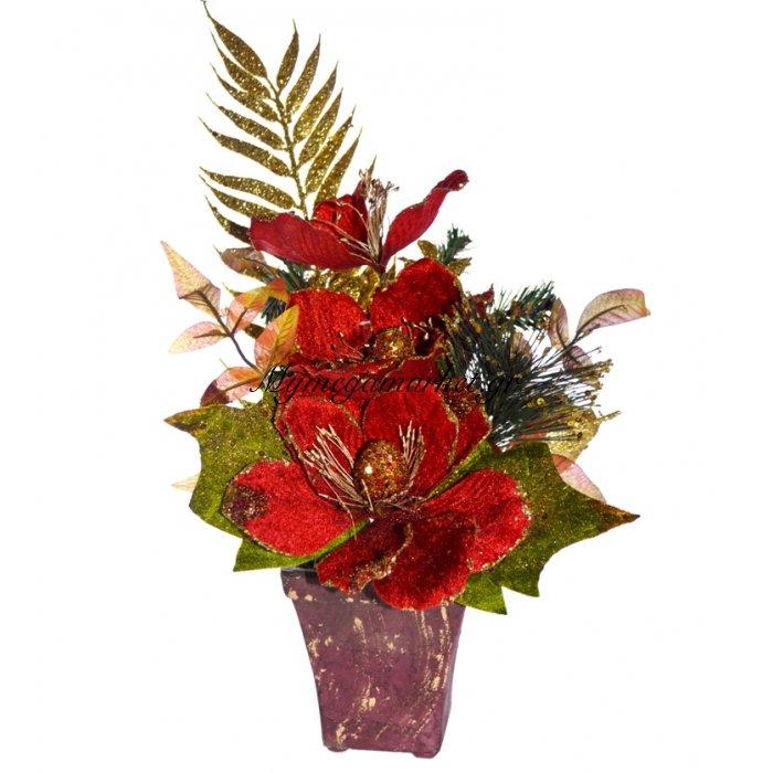 Γλάστρα τετράγωνη με παπαρούνα λουλούδι κόκκινη | Mymegamarket.gr