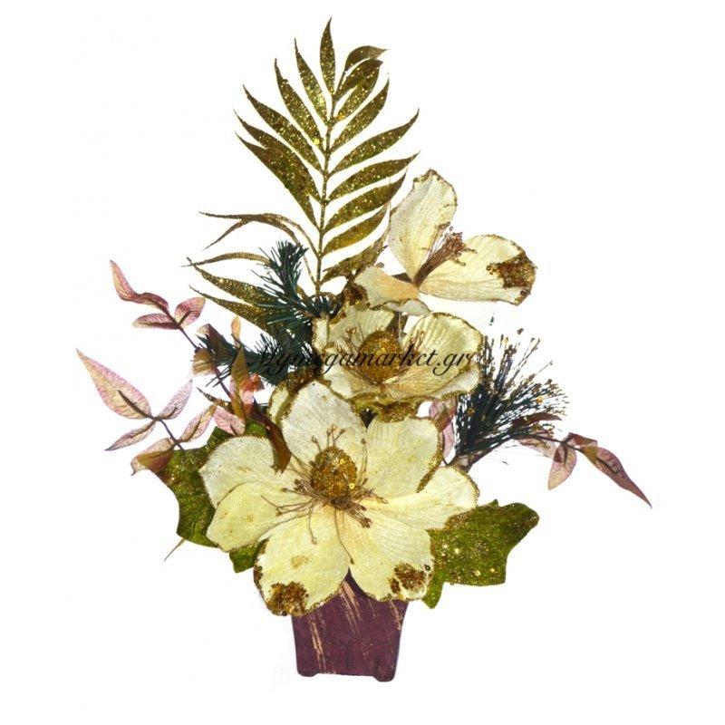 Γλάστρα τετράγωνη με παπαρούνα λουλούδι μπέζ